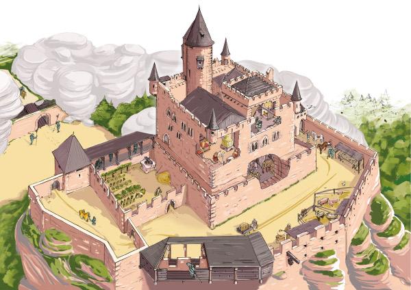 Illustration d'un château fort au Moyen-Age