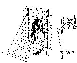 Esquisse d'un pont levis à chaînes