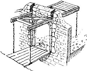 Esquisse d'un pont levis à contrepoids