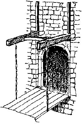 Esquisse d'un pont levis à deux balanciers